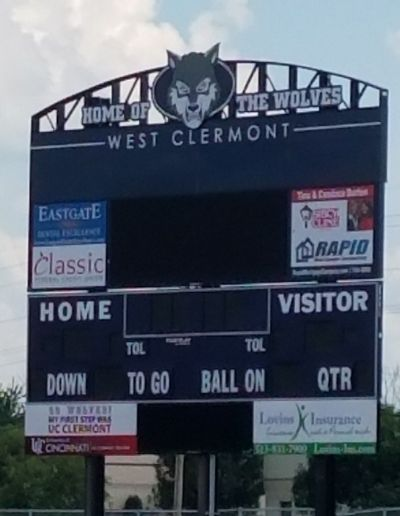 Eastgate Dental Excellence advertisement on West Clermont High scoreboard